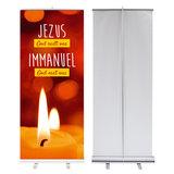 Roll-up banner    Jezus God redt ons - Immanuel God met ons_