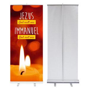 Roll-up banner    Jezus God redt ons - Immanuel God met ons